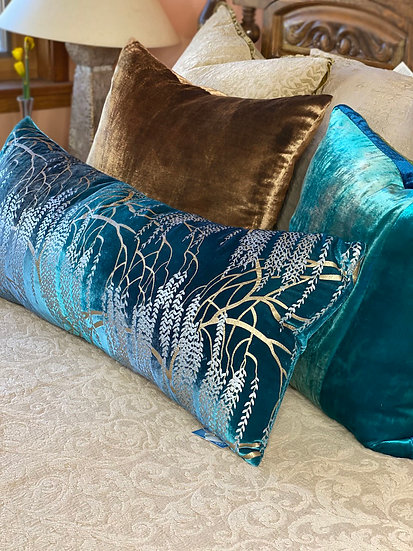 """Kevin O'Brien """"Willow Metallic Pacific"""" Pillow"""