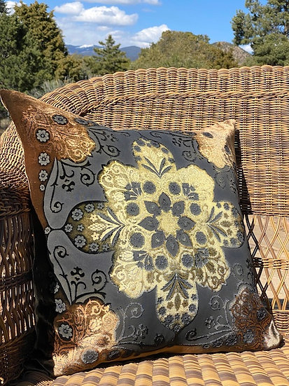 Moroccan copper velvet pillows