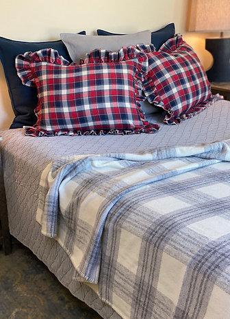 Custom plaid flannel shams