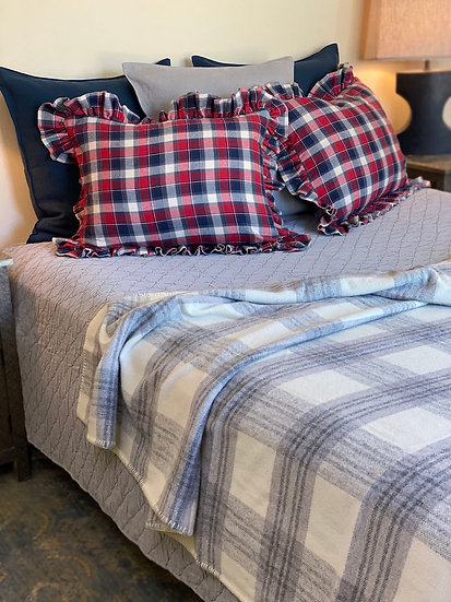Custom plaid flannel shams