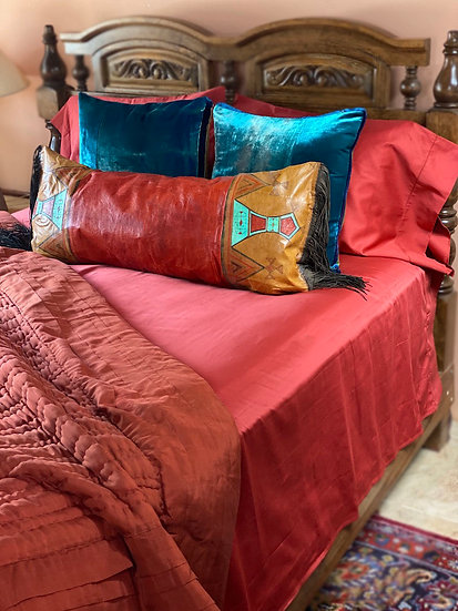 African painted leather pillow/runner