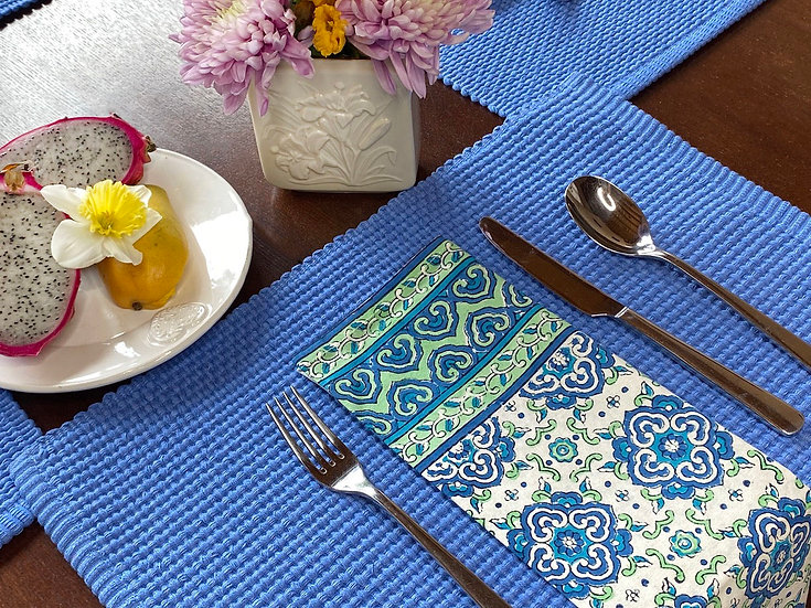 "Cotton ""Medalion blue"" napkin set (4)"