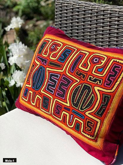Handmade Mola cloth pillows from the Guna people of San Blas Islands, Panama