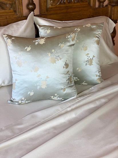 Silk brocade light mint floral pillows