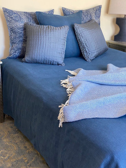 Libeco Napoli Vintage Linen Navy Coverlet