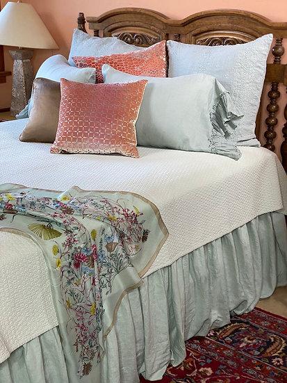Bella Notte Queen Thyme linen bed skirt