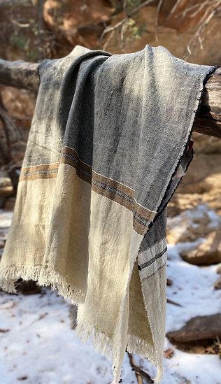 Libeco Belgian Beeswax Stripe towel/throw