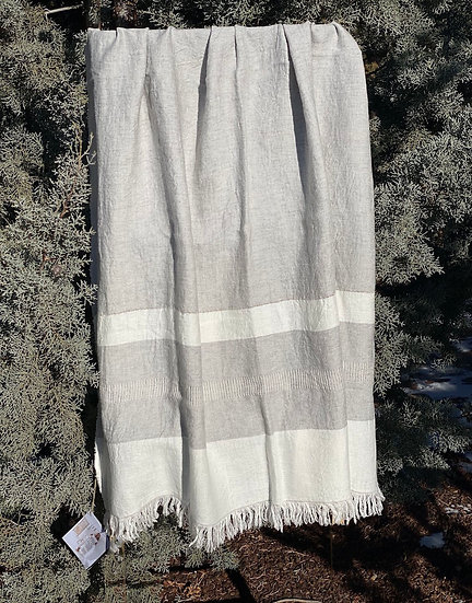 Libeco Belgian Gent White Gray towel/throw