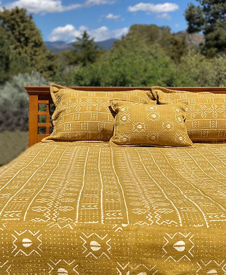 Cotton Mudcloth coverlet set from Africa