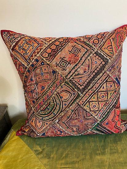Custom Indian pillows made with real gold wedding Sari fabric