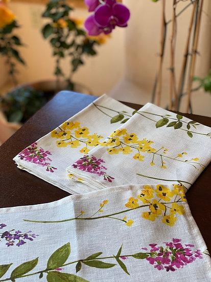 Watercolor floral linen napkin set (4)