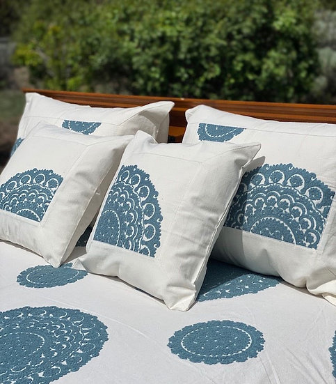 Indian embroidered queen coverlet set
