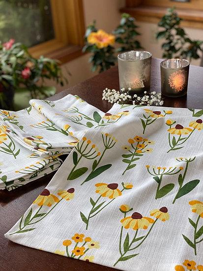 Flower Floral cotton napkin set ( 4)