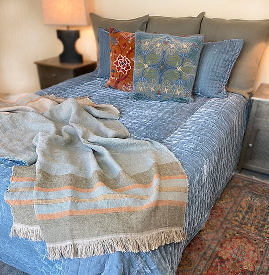 Reversible blue silk/velvet queen quilt from Vietnam