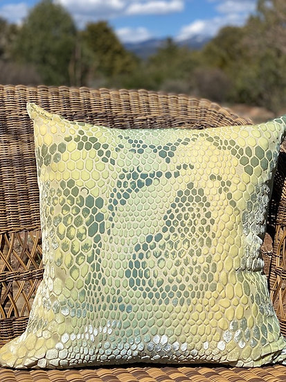 Snakeskin citron velvet pillow