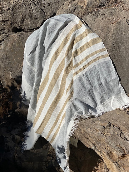 Libeco BelgianAsh Stripe towels/throws