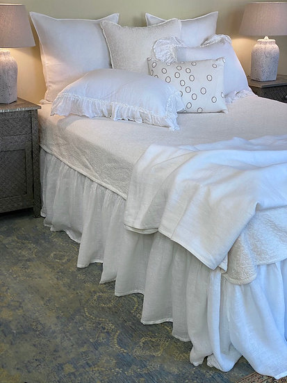 Linen voile gathered  bed skirts (Queen and King)
