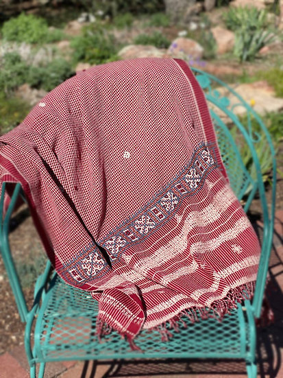 Wool/cotton blend shawl made by rural women artisans in India