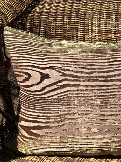 Wood taupe gold pillow