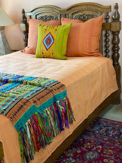 Shailah king cotton orange  coverlet from India