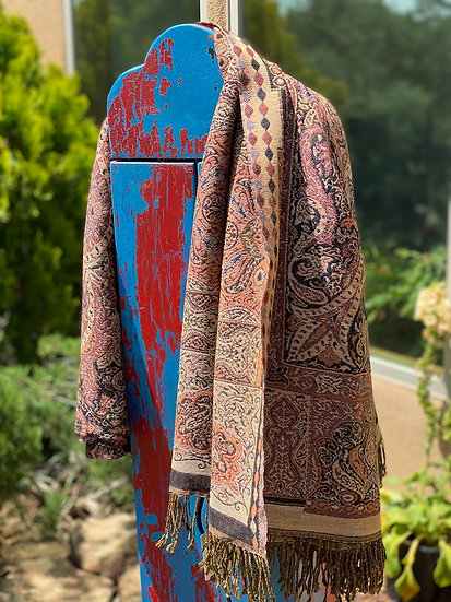 Camel hair reversible paisley coverlet