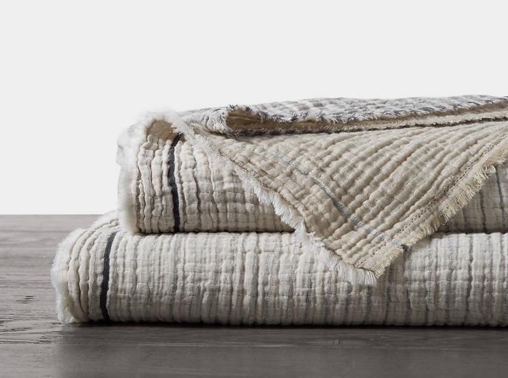 "Coyuchi ""Topanga Neutral"" organic cotton blanket/coverlet"