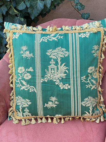 Cotton brocade with fringe pillow