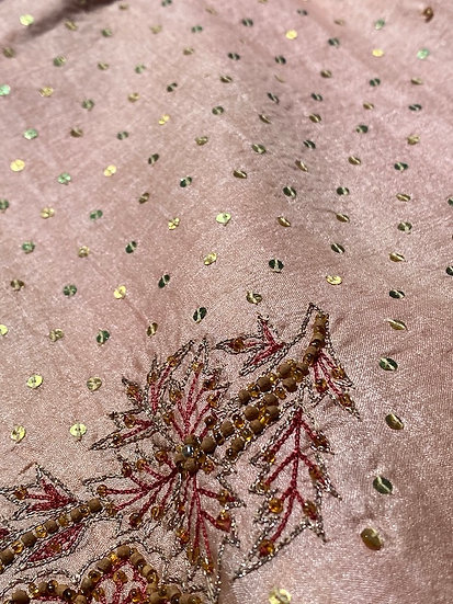 Rose gold silk sari duvet cover set made by Pandora's
