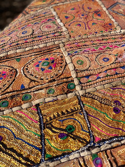 Antique wedding sari fabric made with real gold thread