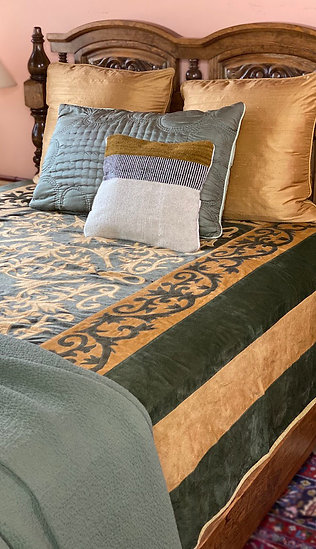 Italian Fortuny ultrasuede queen coverlet
