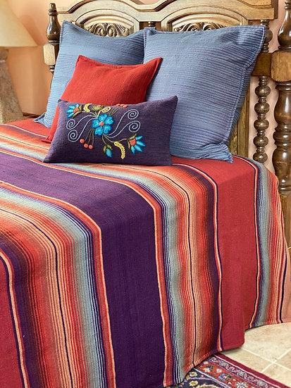"""Sergio Martinez wool bedspread """"Berengena y coral"""""""