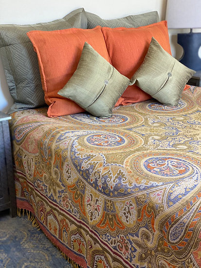 Reversible Kalam wool bedcover/throw