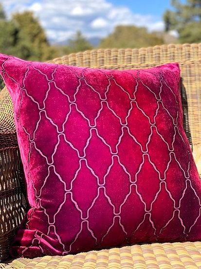 Arches Raspberry velvet pillow