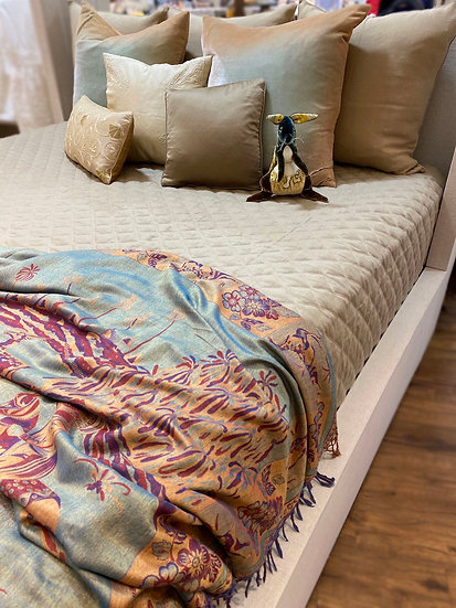 """Home Treasures """"Mesa"""" king linen quilted coverlet"""