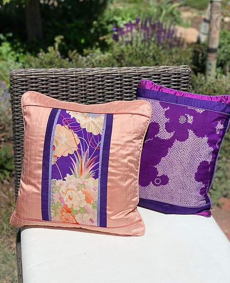 Pillow covers made with vintage silk kimonos