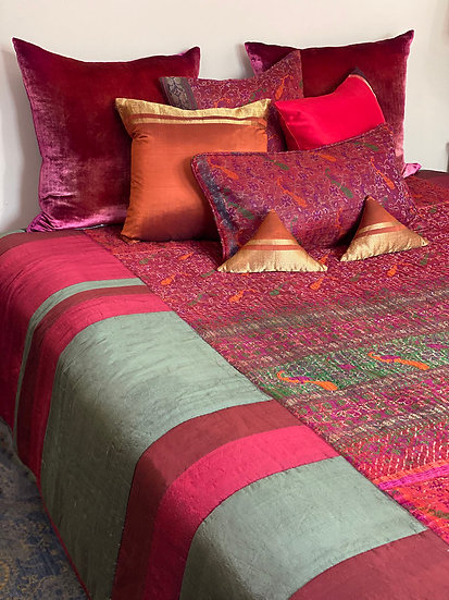 Praneet Bedi embroidered silk queen coverlet set
