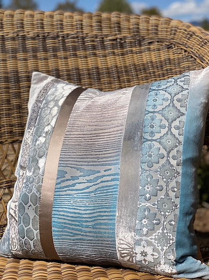 Patchwork Robins egg blue pillows