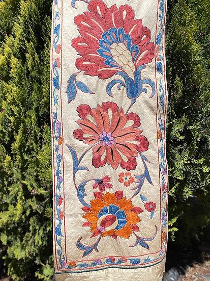 Vintage silk hand-embroidered Suzani runner from Uzbekistan
