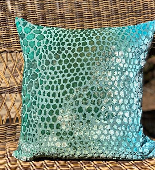 Snakeskin green-turquoise velvet pillow