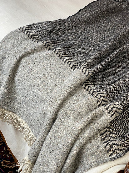 Libeco Jules Black Herringbone Throw