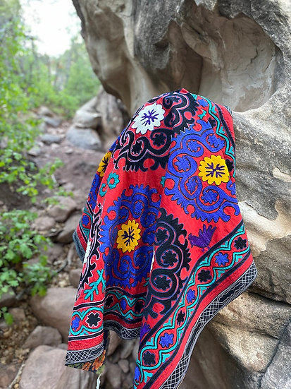 Vintage handmade Suzani textile from Uzbekistan