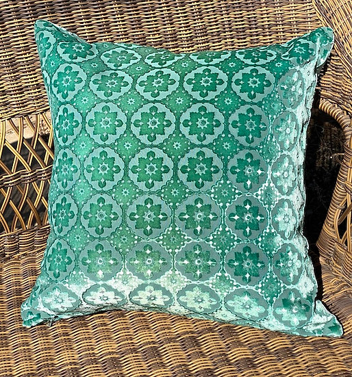 Emerald Moroccan velvet pillow