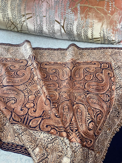 Silk embroidery on wool decorative throw/pashmina