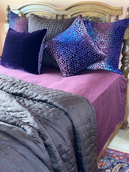 Reversible 100% silk Queen quilt from Vietnam