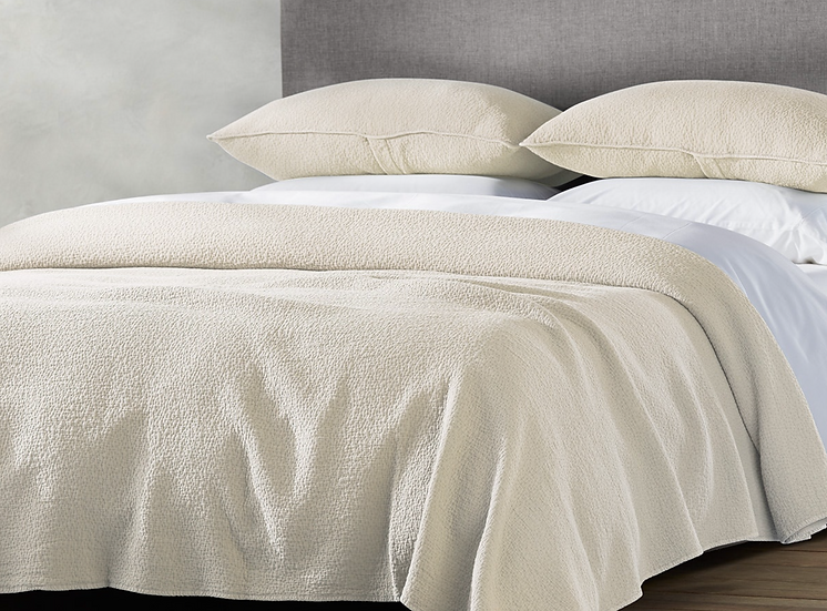 Coyuchi Cascade Undyed organic cotton blankets/coverlets