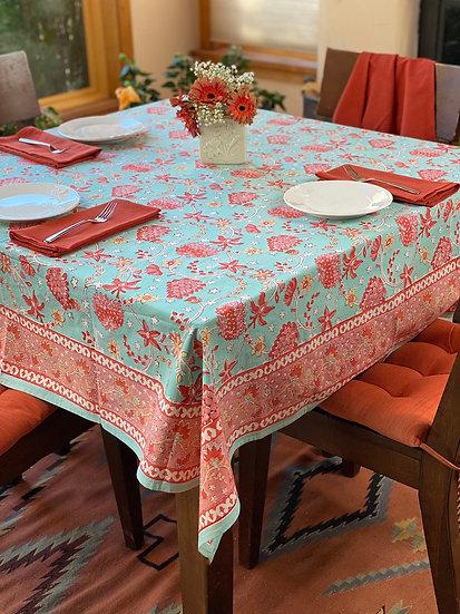 """Block print """"Kalamata"""" tablecloth"""