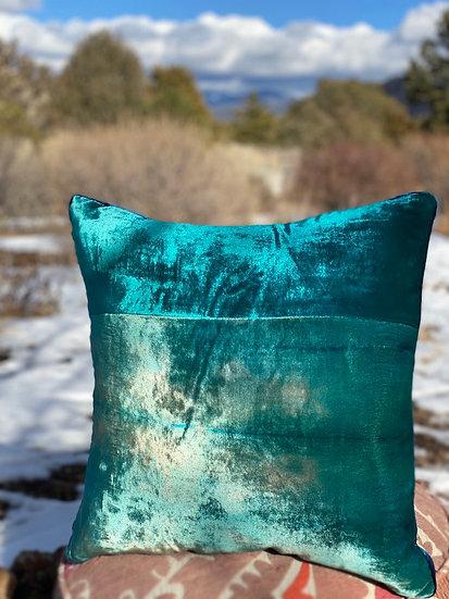"""Kevin O'Brien reversible """"Grass"""" velvet pillows"""