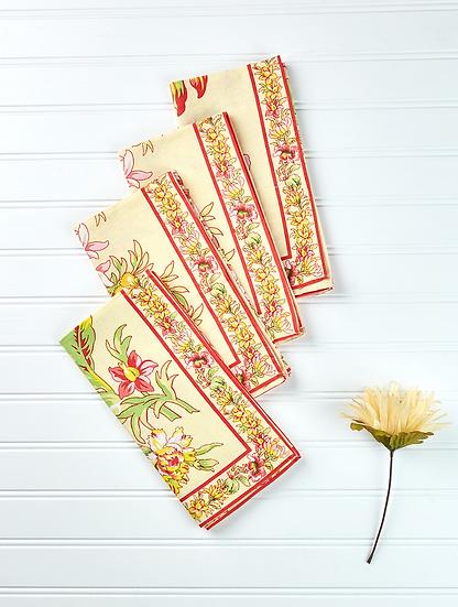 April Cornell Dahlia Yellow Napkin Set (4)