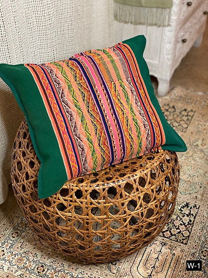 Handwoven pillows made with vintage mantas from Peru and Bolivia