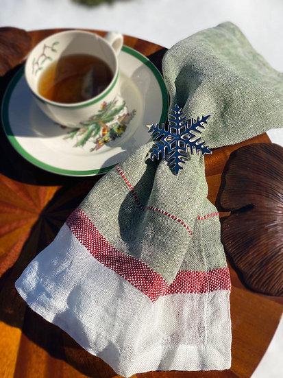 Libeco Evergreen green linen napkin sets